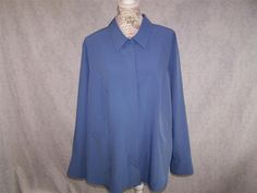 LANE BRYANT Shirt Top 22/24 Front Buttons Stretch French Cuff Long Sleeves Blue #LaneBryant #ButtonDownShirt #Casual