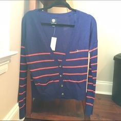 American eagle navy blue striped cardigan nwt Thick winter cardigan. Tags still attached. Sorry no trades , but feel free to make an offer ! American Eagle Outfitters Sweaters Cardigans
