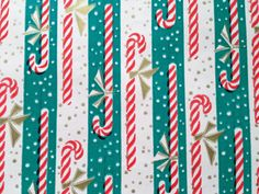 Vintage Christmas Wrapping Paper - Gold Accented Candy Cane Striped Snow Fall - 1 Unused Full Sheet Gift Wrap