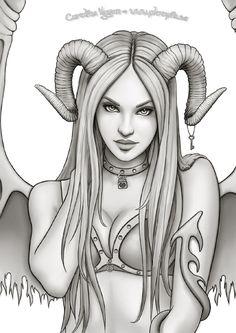 Dark Art Drawings, Sexy Drawings, Pencil Art Drawings, Tattoo Drawings, Drawing Sketches, Arte Digital Fantasy, Arte Aries, Evil Mermaids, Beautiful Dark Art
