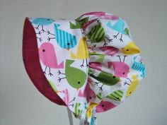 Modern BABY BONNET, Made To Order Size Newborn to 2 Years. Urban Zoologie Sun Bonnet, Toddler Bonnet. Sun Hat,