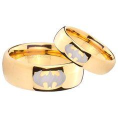 Tungsten Carbide 14K Gold IP BATMAN Wedding Ring Set