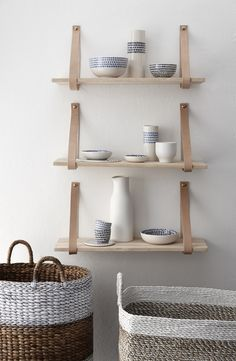 Nude Leather Strap Wooden Wall Shelf