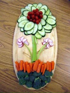 Food Art- Cucumbers,Olives,Celery,Radish,Carrots & Broccoli