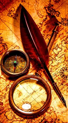 Vintage magnifying glass lies on an ancient world map is part of Ancient world maps - Vintage magnifying glass, compass, goose quill pen, spyglass lying on an old map Karten Tattoos, Map Compass, Compass Tattoo, Pirate Compass, Compass Navigation, Nautical Compass, Treasure Maps, Pirate Treasure, Old Maps