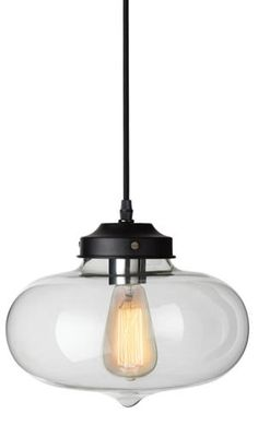 The vintage charm of the Otis Glass Pendant brightens a casual space individually or clustered in multiples.
