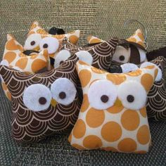 owl pillows!  These could definitely be done nicer, but this is a cute idea to make with kids.