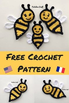 Bee Appliques : Free and easy crochet patterns 2019 Free crochet pattern for a beautiful family of bees. Easy and quick pattern! The post Bee Appliques : Free and easy crochet patterns 2019 appeared first on Yarn ideas. Unique Crochet, Love Crochet, Beautiful Crochet, Crochet Bear, Crochet Animals, Crochet Birds, Crochet Applique Patterns Free, Crochet Flower Patterns, Crochet Appliques
