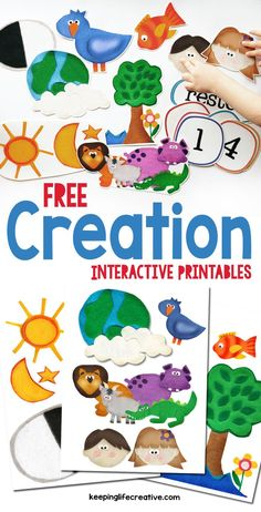 Make Bible learning fun and interactive with colorful FREE Creation scripture story printables. Many other Bible stories also available! Creation Bible Lessons, Creation Bible Crafts, Creation Activities, Bible Story Crafts, Bible Stories For Kids, Bible Crafts For Kids, Bible Study For Kids, Preschool Bible Crafts, Creation Preschool Craft