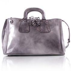 25317d1a343b PRADA Spazzolato Crystal Tote. Grey Bags, Prada Bag, Cute Bags, Fifty Shades