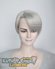 [Kasou Wig] Yuri !!! on Ice Victor Nikiforov short gray pre-styled cosplay wig with short bangs