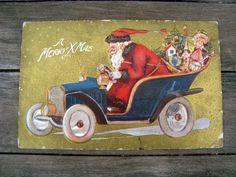 Antique 1909 Postcard St. Nick with Antique Car Delivering