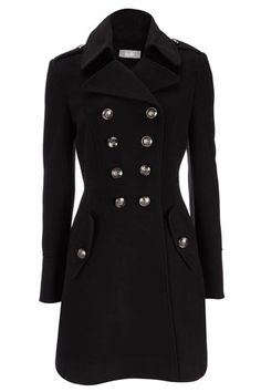 Black Military Coat discovered on Fantasy Shopper Coats For Women, Clothes For Women, Double Breasted Coat, Winter Looks, Winter Wear, Fashion Outfits, Womens Fashion, Well Dressed