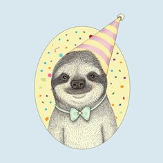 Party's here! I mean...Slumber Party? This̴Ì_sloth shower curtain is bound to make you smile. If you're looking for a funny shower curtain, look no further. Illustration by the talented Indi Maverick