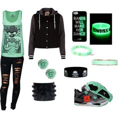 """""""Green Glow !!!!"""" by myalomax on Polyvore cheap Air Jordan 4 Green Glow only $65.6, save up to 62% off for all #Nikes #Shoes"""