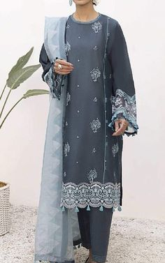 Charcoal Lawn Suit | Buy Sapphire Pakistani Dresses and Clothing online in USA, UK Pakistani Dresses Online Shopping, Suits Online Shopping, Fashion Pants, Fashion Dresses, Pakistani Lawn Suits, Add Sleeves, Lawn Fabric, Pakistani Designers, Clothes For Sale