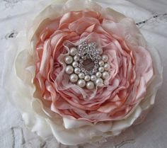 Stunning composite (or glamelia) single fabric flower bouquet perfect for the bride or bridesmaids, single fabric flower bouquet in ivory, champagne and