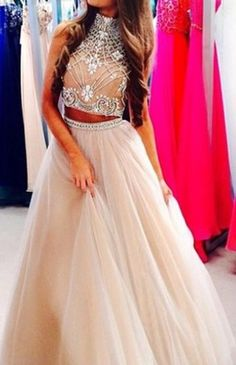 Custom Made Light Champagne 2 Pieces Long Prom Dress