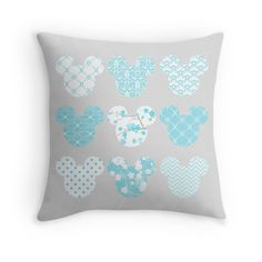 Mickey Mouse in Tiffany Blue throw pillow by My heart has ears