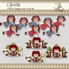 Raggedy Annies Christmas Clipart