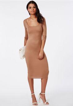 3/4 Sleeve Scoop Neck Bodycon Midi Dress Camel - Dresses - Midi Dresses - Missguided