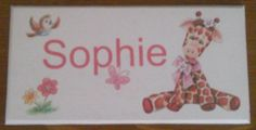 Cute giraffe door plaque, personalised with your child's name. Handmade by a Conscious Crafty living with neuralgia and bulging discs Bedroom Door Signs, Bedroom Doors, Personalized Plaques, Cute Giraffe, Door Plaques, Childrens Gifts, Kid Names, Kids Bedroom, Crafty