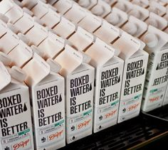 Custom label design for Boxed Water(tm) that will be sold exclusively at Dripp Coffee Bar Water Packaging, Brand Packaging, Packaging Design Inspiration, Creative Inspiration, Boxed Water Is Better, Label Design, Package Design, Graphic Design, Box Water