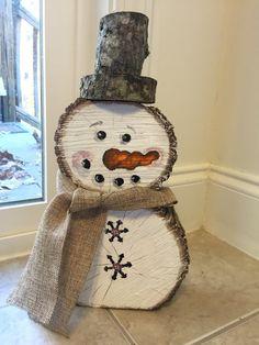 Bonhomme de neige en bois par MoNkeyBUTTarts sur Etsy