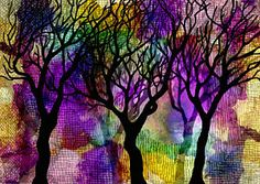 Alcohol Ink Mixed Media - Winter Trees On Mica Background by Marta Harvey