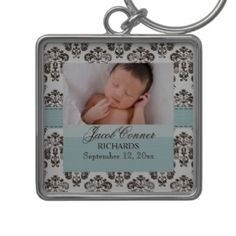 Custom Baby Damask Photo Keychain Blue and Brown. Customize this beautiful tiffany blue and brown damask keychain with a picture of your baby boy, and personalize it with his name and date of birth. A lovely gift for a new mom or grandmother. Also in pink for a girl.