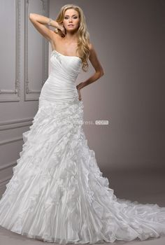 Dramatic A-line strapless organza cascading ruffles sleeveless long wedding dress