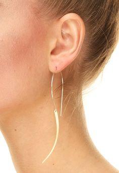 Gold dagger earrings hoops mixed metal by betsyandiya on Etsy