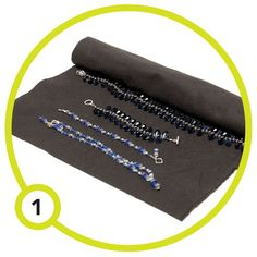 For an easy and inexpensive way to store jewelry between shows, roll it in anti-tarnish cloth. The jewelry doesn't get tangled and the cloth helps prevent tarnish. One yard cut in half lengthwise will make two rolls. For additional tarnish protection, store the rolls in sealed plastic containers with anti-tarnish strips. The cloth is available at most fabric stores.