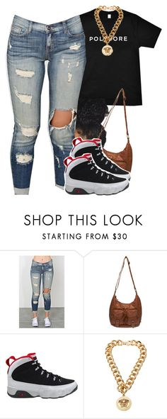 """""""P O L Y V O R E"""" by chyna-campbell ❤ liked on Polyvore featuring Wet Seal, NIKE, Versace, women's clothing, women, female, woman, misses and juniors"""