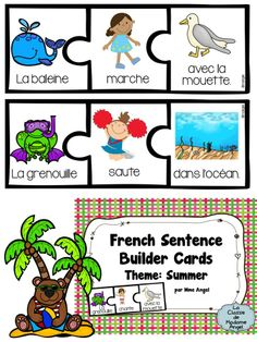 L'été: Summer Themed Silly Sentence Builder Cards in French French Teaching Resources, Teaching French, French School, French Class, Silly Sentences, Sight Word Centers, Ontario Curriculum, French Education, Core French