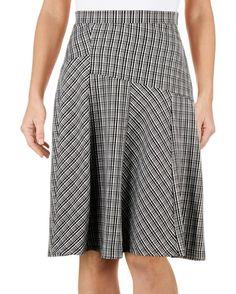 Pieced Plaid Flare Skirt