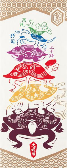 【手ぬぐい(てぬぐい)・日本手拭い】[気音間]亀の子代々【亀(かめ)・長寿記念・還暦・米寿・縁起柄・和風・タペストリー】手ぬぐい専門店「わざっか本舗」