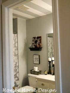 Homey Home Design: Mini Bathroom Redo with striped ceiling
