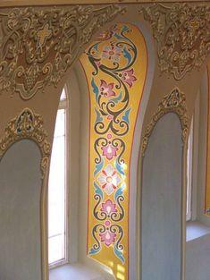 Орнамент в росписи храма Wall Painting Decor, Princess Castle, Gold Work, Mural Art, Byzantine, Temple, Ceiling, Art Prints, Interior Design