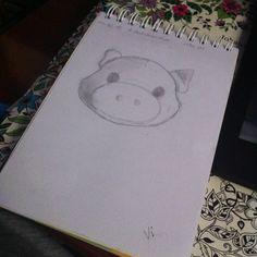 Desenho 1 de 365: Copiando meu porquinho de pelúcia.