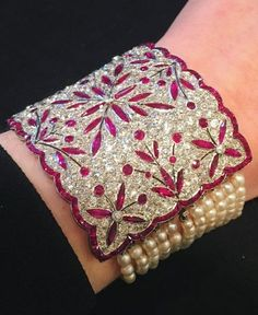 A Belle Epoque natural pearl, ruby and diamond bracelet, circa 1910. #VintageJewelry