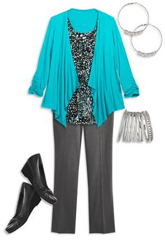 Love this plus sized business outfit.  The colorful cardigan makes the outfit!