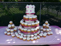 Calumet Bakery Cupcake wedding display with fondant pearl toppers and gum paste blossoms.