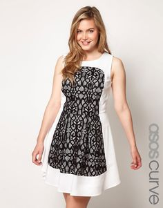 ASOS CURVE Exclusive Skater Dress With Lace $76.64