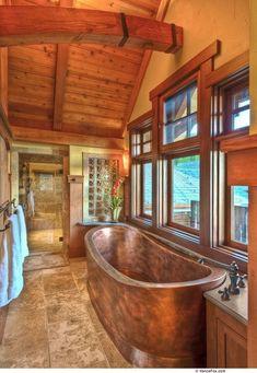 rustik banyo bakir kuvet