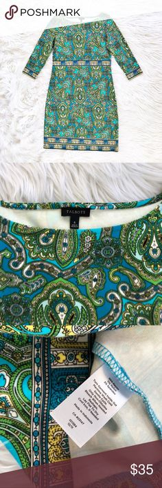 Talbots paisley print knit sheath dress Vibrant paisley print sheath dress in a soft and stretchy knit fabric, size 6 from Talbots. 3/4 sleeves. Excellent condition, like new! Talbots Dresses Mini
