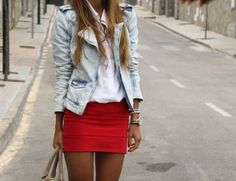 red skirt + white tee + jean jacket