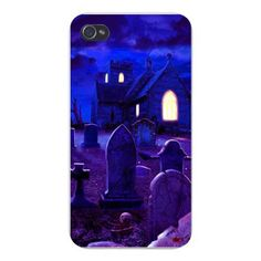 Apple Iphone Custom Case 4 4s Plastic Snap on - Scary Horror Cemetery & Church at Night