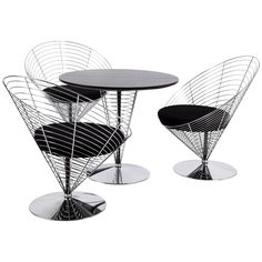 Two Sets of Three Turnable Cones and the Table of Verner Panton Chrome-Plated 1