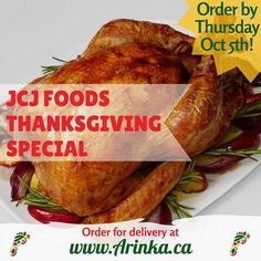 Spend more time relaxing with family and friends this Thanksgiving weekend by ordering JCJ Foods' Thanksgiving Special! With packages featuring whole roasted turkey, coconut rice, moin-moin, fresh cold-pressed juices, and much more there's sure to be something for everyone. .  Use the link in our bio to order your Thanksgiving dinner by Thursday October 5th for delivery on Thanksgiving Sunday! October 5th, Cold Pressed Juice, Coconut Rice, Meat Chickens, Roasted Turkey, Juices, Thursday, Delivery, Sunday